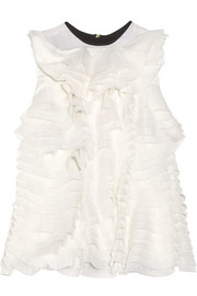 Zena ruffled silk-blend organza and crepe top