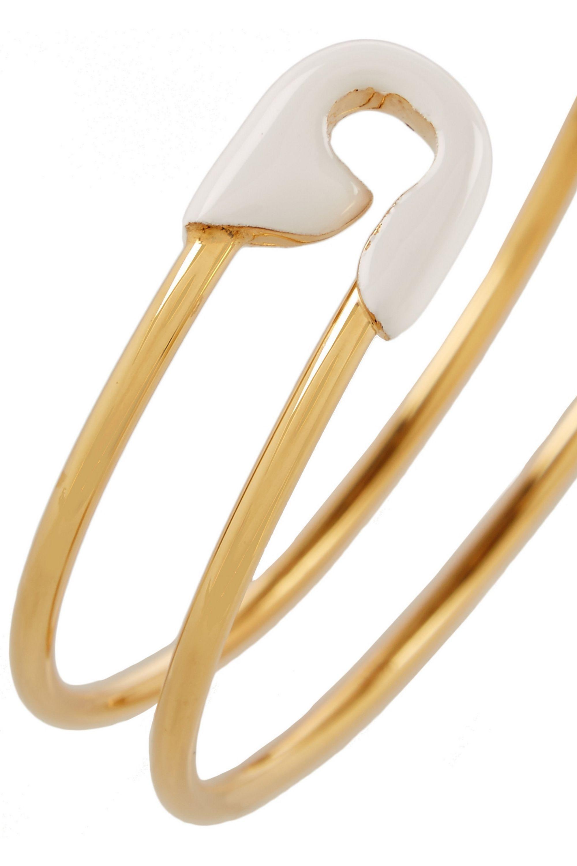 EYE M by Ileana Makri Enameled gold-plated safety pin cuff
