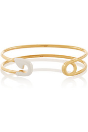 Enameled gold-plated safety pin cuff
