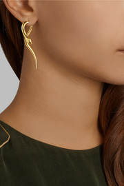 IAM by Ileana Makri Boa gold-plated tsavorite earrings