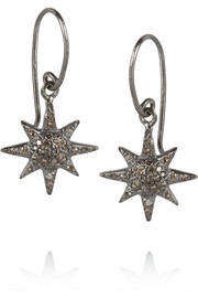 Oxidized silver diamond earrings