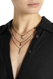 IAM by Ileana Makri Oxidized silver, diamond and ruby necklace