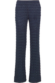 Crochet-knit wide-leg pants