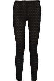 Crochet-knit slim-fit pants