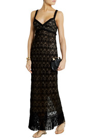 Missoni Metallic fringed crochet-knit maxi dress