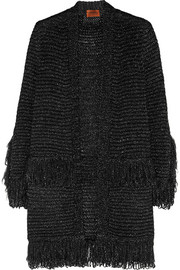 Metallic fringed crochet-knit cardigan