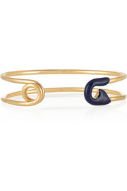 IAM by Ileana Makri Enameled gold-plated safety pin cuff