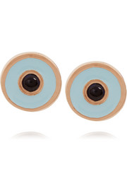IAM by Ileana Makri Rose gold-plated enamel and sapphire earrings