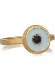 Gold-plated, sapphire and enamel ring