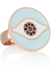 Dawn rose gold-plated, sapphire and diamond ring
