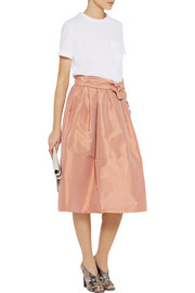 TOME Belted taffeta skirt