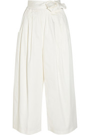TOME Cropped cotton-blend sateen wide-leg pants