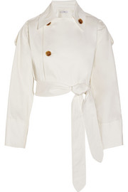 Cropped cotton-blend sateen trench coat