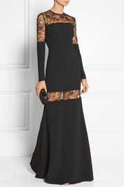 Lace-paneled stretch-crepe gown
