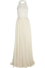 Guipure lace-appliquéd stretch-knit and silk-chiffon gown