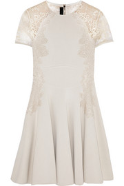Elie Saab Lace-trimmed jersey dress