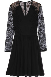 Lace-paneled ponte and chiffon mini dress