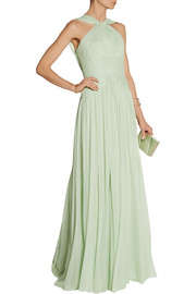 Elie Saab Pleated silk-chiffon gown