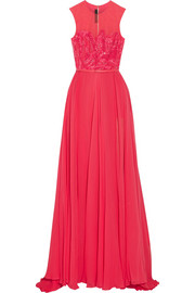Tulle-paneled embellished silk-chiffon gown