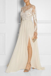 Embroidered lace and silk-blend georgette gown