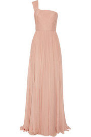 Elie Saab Pleated one-shoulder silk-chiffon gown