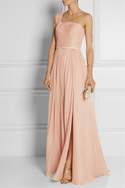 Pleated one-shoulder silk-chiffon gown