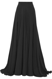 Silk-crepe maxi skirt