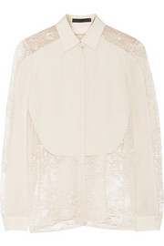 Lace-paneled silk crepe de chine blouse