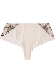 Paloma lace-paneled stretch-jersey shorts