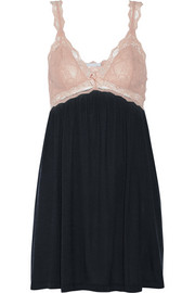 Emilia lace-paneled stretch-jersey chemise
