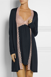 Eberjey Emilia lace-trimmed stretch-jersey robe