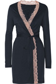 Emilia lace-trimmed stretch-jersey robe