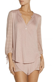 Rosette stretch-knit and jersey pajama top