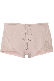 Rosette stretch-knit and jersey pajama shorts