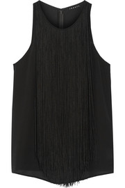 Theory Montien fringed silk-georgette top