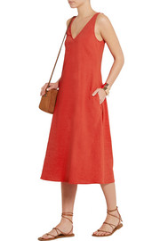 Theory Madrea stretch linen-blend midi dress