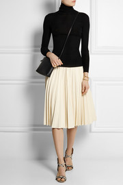 Zeyn pleated leather skirt