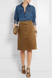 Theory Pemma suede skirt