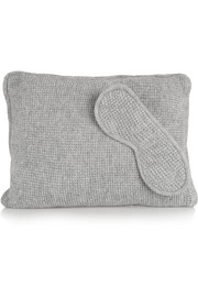 Waffle-knit cashmere pillow and eye mask set