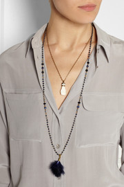 Isabel Marant Set of two gold-tone, bone, feather and crystal necklaces