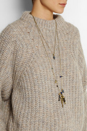 Isabel Marant Set of two gold-tone, crystal and horn necklaces