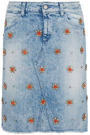 Gucci Crystal-embellished stretch-denim skirt