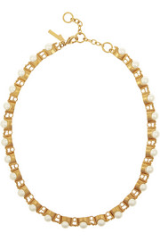 Groove gold-plated faux-pearl necklace