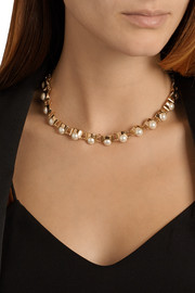 Lele Sadoughi Groove gold-plated faux-pearl necklace