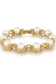Lele Sadoughi Groove gold-plated faux-pearl bracelet