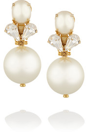 Lele Sadoughi Gold-plated faux pearl and crystal earrings