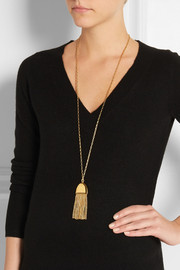 Lele Sadoughi Flat Tassel gold-plated necklace