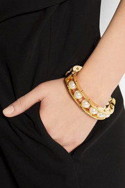 Lele Sadoughi Stone Round Slider gold-plated faux pearl bracelet