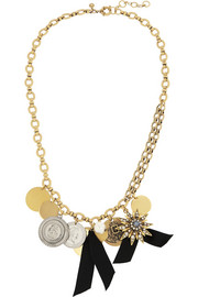 J.Crew Gold-plated, crystal and faux pearl necklace