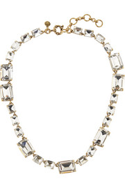 Rectangle gold-tone crystal necklace